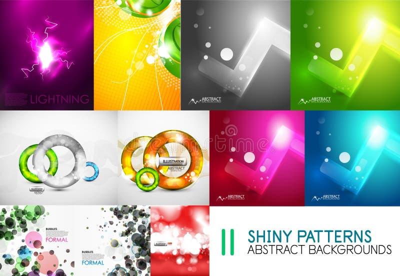 La colección de plantillas ligeras brillantes del vector, los fondos abstractos de los colores que brillan intensamente diseña stock de ilustración