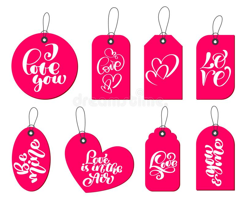 La colección de regalo lindo dibujado mano marca con etiqueta con la inscripción te amo Día de tarjetas del día de San Valentín,  stock de ilustración