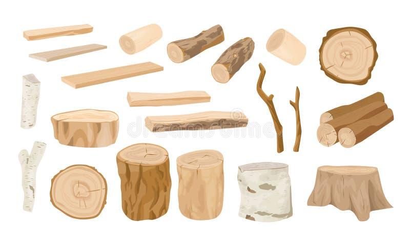 La colección de registros de madera, ramas de árbol, explota los árboles, madera aserrada en los tablones ásperos aislados en el  stock de ilustración