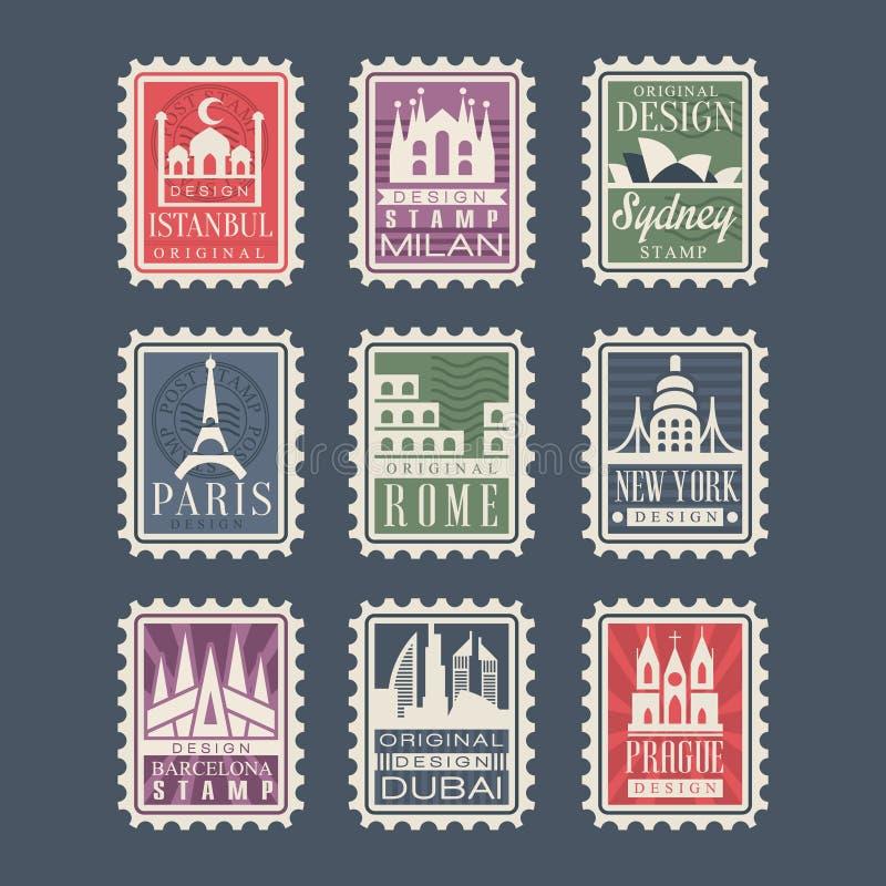 La colección de sellos de los países diferentes con las señales arquitectónicas, ejemplos del vector, ciudad sella con libre illustration