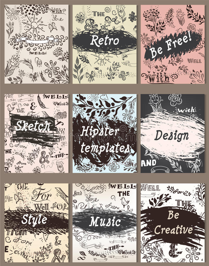La colección de tarjetas creativas del vintage con la mano bosquejó al inconformista stock de ilustración