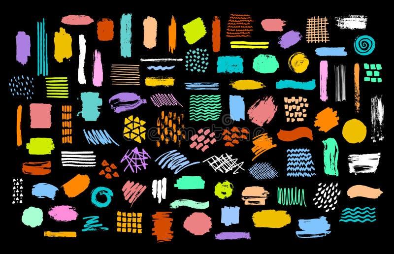La colección de tinta seca brillante colorida del marcador de la brocha alimenta texturas libre illustration