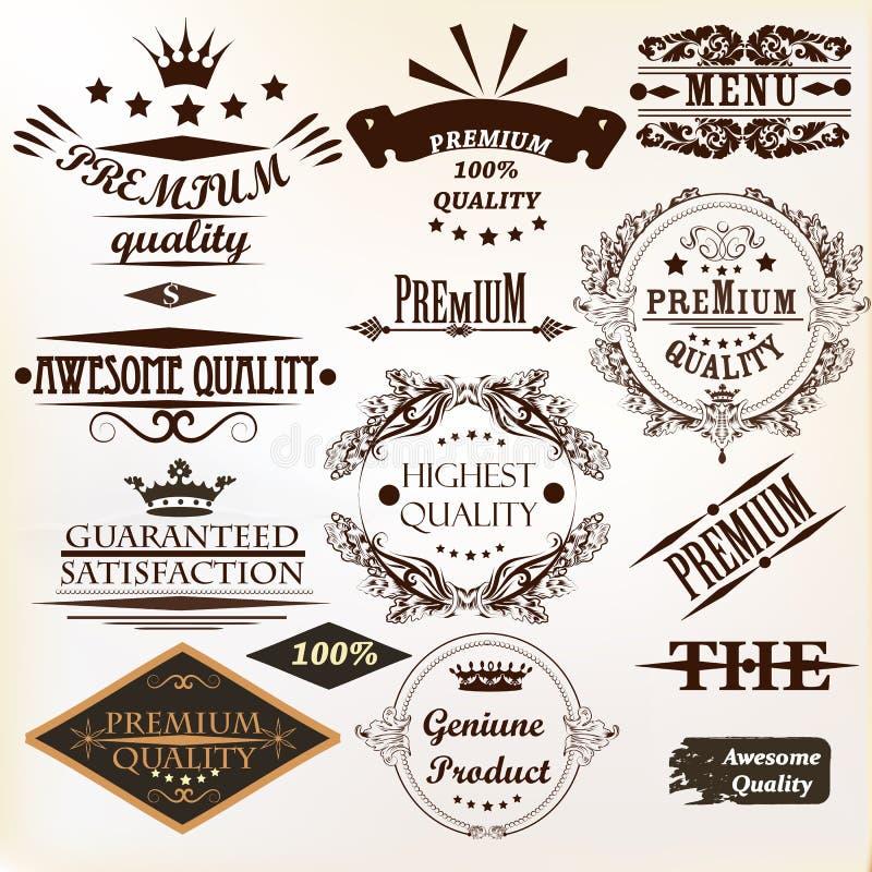 La colección de vector del vintage etiqueta la calidad mejor y superior ilustración del vector