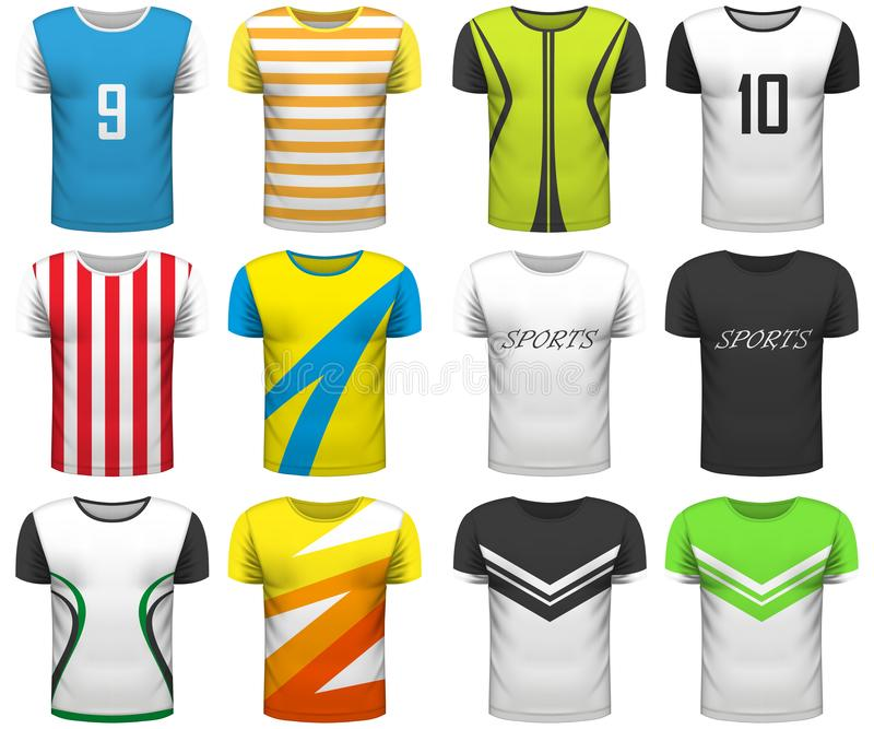 La colección del diseño de camisetas realistas imita para arriba en el backgro blanco ilustración del vector