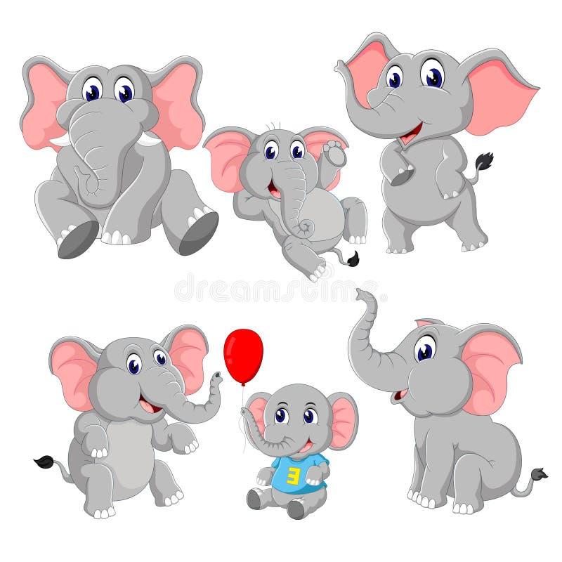 La colección del elefante y de elefante del bebé ilustración del vector