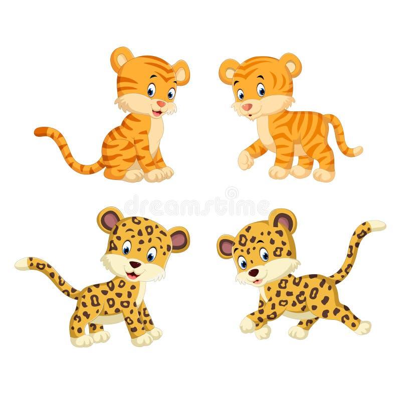La colección del tigre y del leopardo stock de ilustración