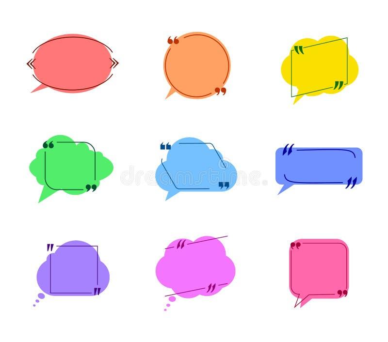 La colección del vector de burbujas coloridas del discurso con los marcos de la cita aisló las nubes planas stock de ilustración