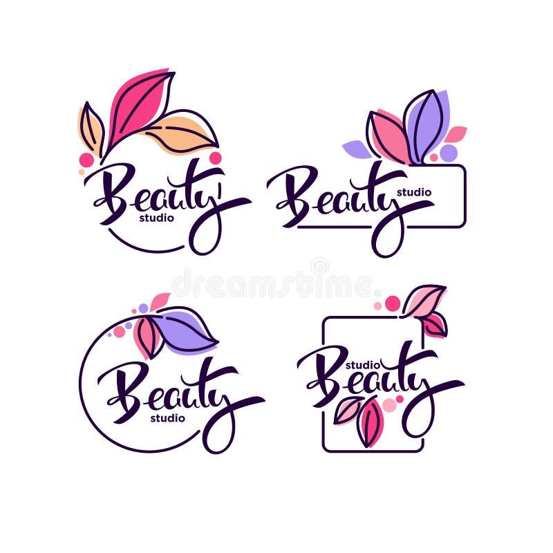 La colección del vector de garabato florece emblemas ilustración del vector