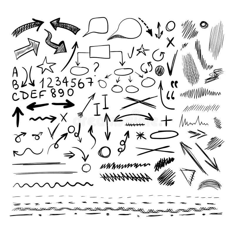 La colección del VECTOR de mano dibujada bosquejó los elementos del diseño, formas blancos y negros, diversas ilustración del vector