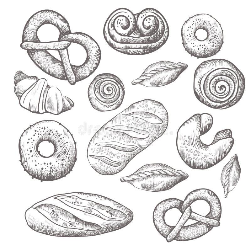 La colección dibujada mano de repostería y pastelería aisló el ejemplo stock de ilustración
