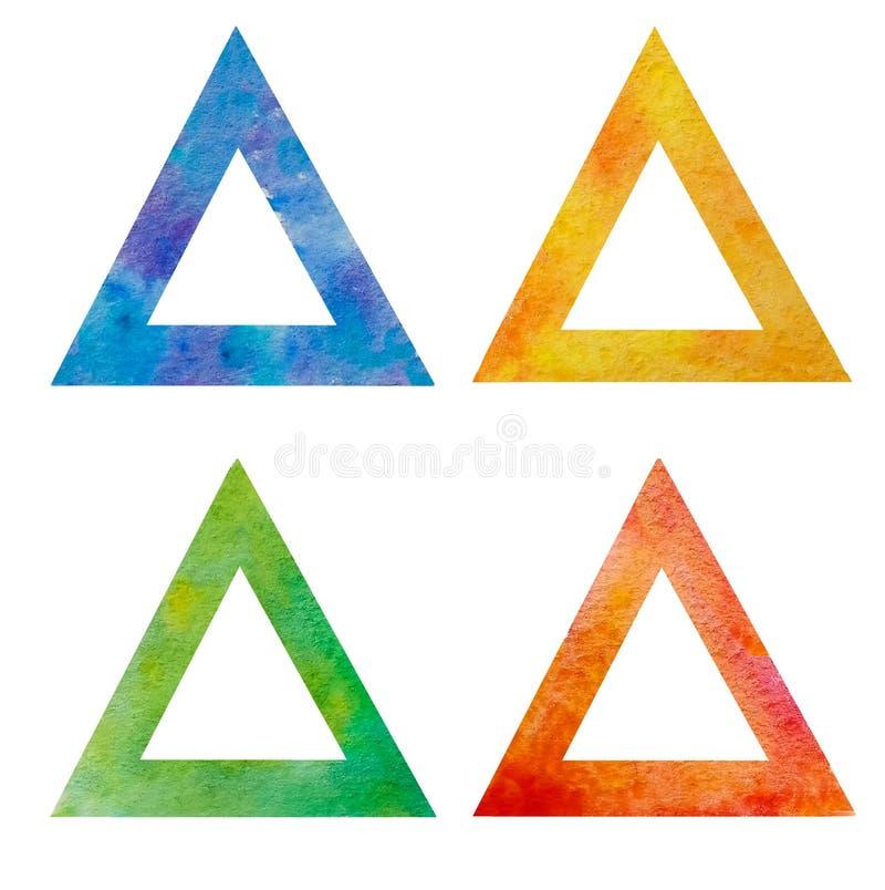 La colección es un sistema de cuatro triángulos isósceles de la acuarela aislados en un fondo blanco con un centro vacío Rojo, am stock de ilustración