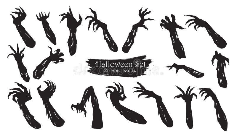 La colección fantasmagórica de la silueta de las manos del zombi de vector de Halloween es ilustración del vector