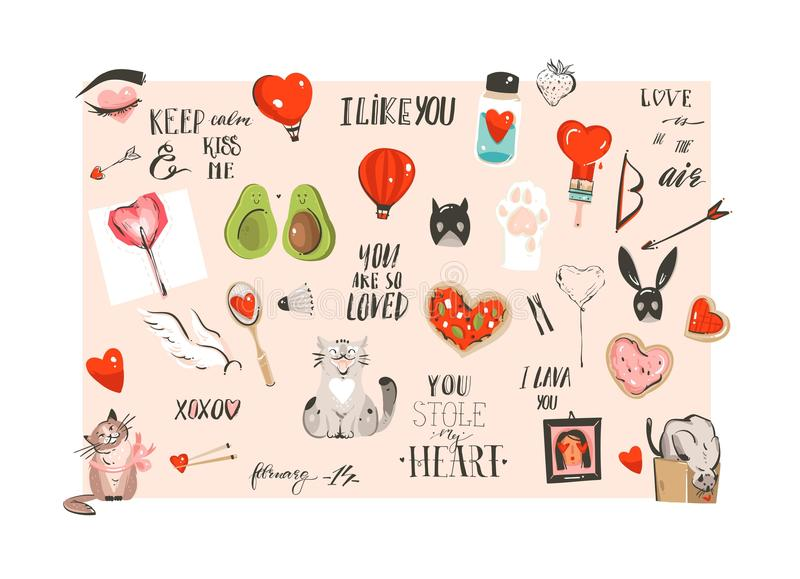 La colección feliz dibujada mano de los ejemplos del concepto del día de tarjetas del día de San Valentín de la historieta modern ilustración del vector