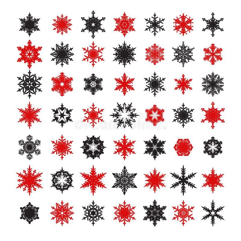 La colección grande de copos de nieve negros y rojos elegantes siluetea aislado en el fondo blanco Ilustración del vector stock de ilustración
