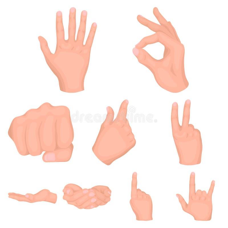 La colección grande de gestos de mano vector el ejemplo común del símbolo ilustración del vector