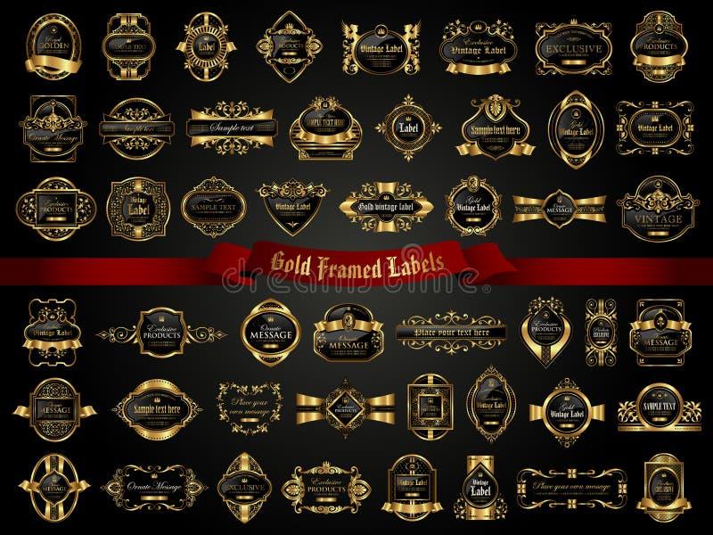 La colección grande de oscuridad oro-enmarcó etiquetas en estilo del vintage stock de ilustración