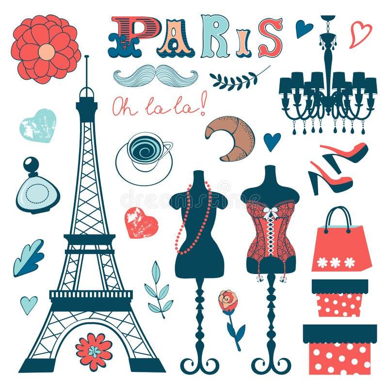 La colección hermosa de París relacionó el gráfico libre illustration