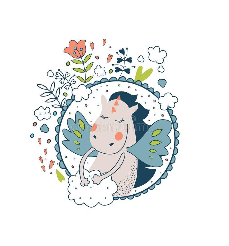 La colección mágica linda con el gragon, alas de hadas, flores, se nubla a stock de ilustración