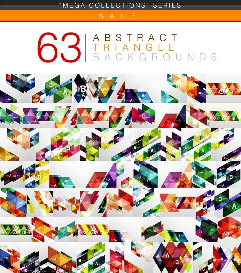 La colección mega de 63 triángulos modernos del color resume fondos stock de ilustración