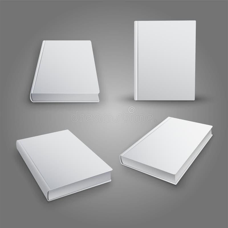 La colección realista de 3d reserva con la cubierta blanca Mofa para arriba de libros Vector ilustración del vector