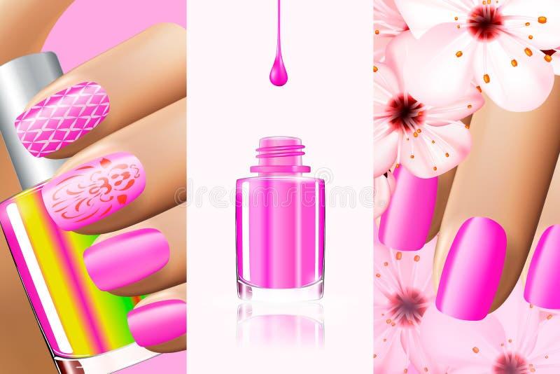 La colección rosada colorida de clavo diseña para el verano y la primavera Ilustración del vector 3d Anuncios de la laca de Nailp libre illustration