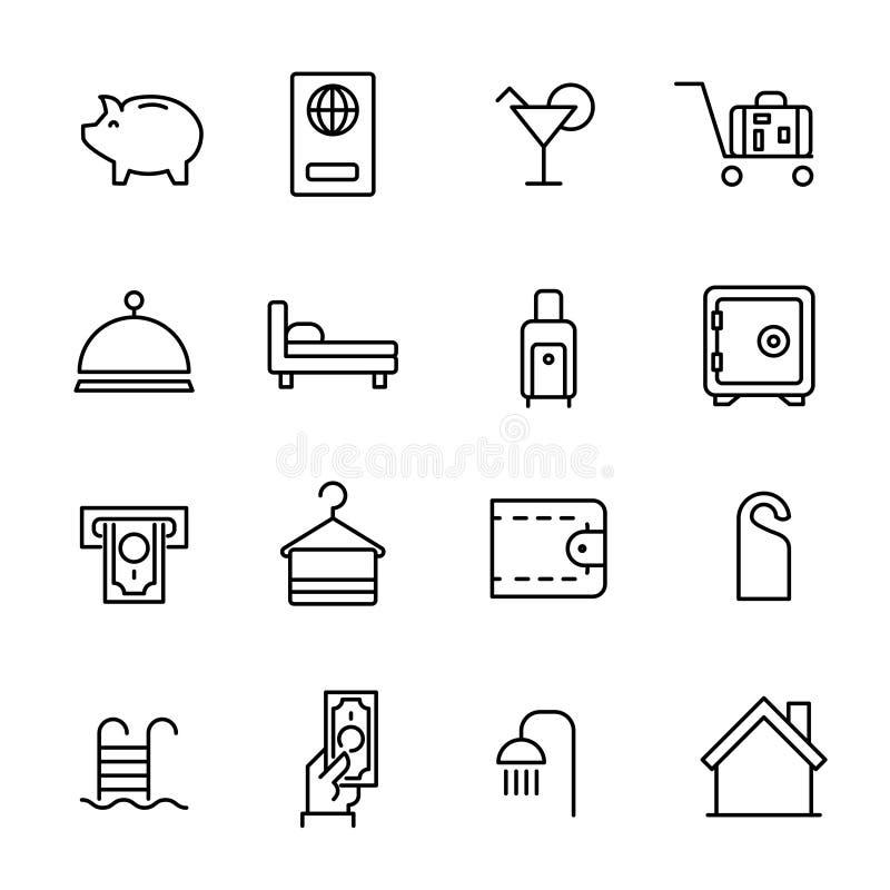 La colección simple de servicio de habitación relacionó la línea iconos ilustración del vector