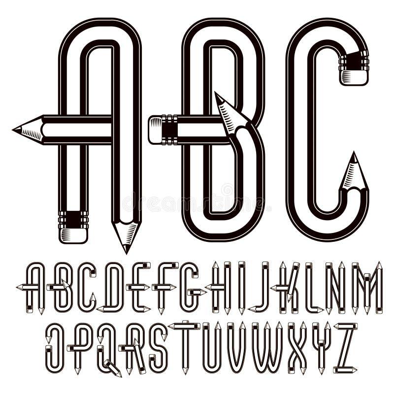 La colecci?n may?scula de las letras del alfabeto ingl?s del vector construida con los l?pices agudos, herramientas de la oficina stock de ilustración