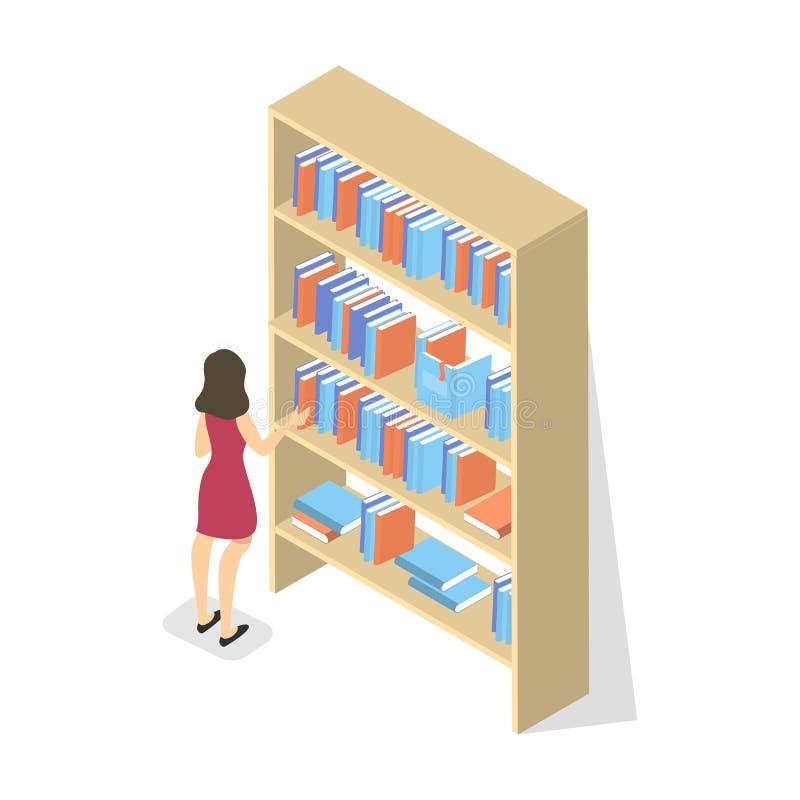 La colegiala en biblioteca elige el libro en el estante stock de ilustración