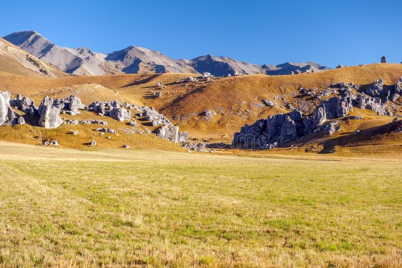 La colina del castillo, Nueva Zelanda fotografía de archivo
