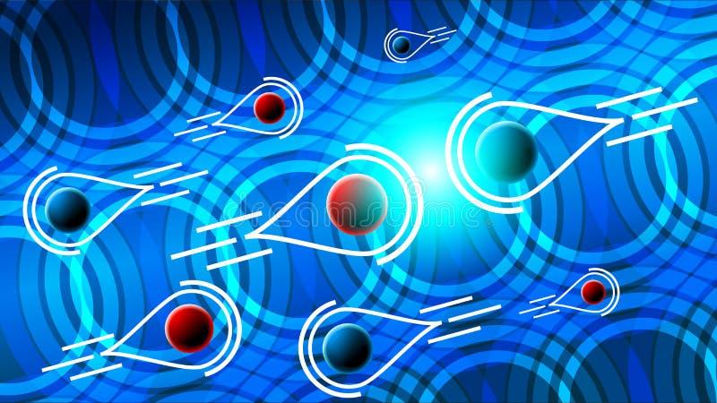 La colisión de partículas en el acelerador stock de ilustración