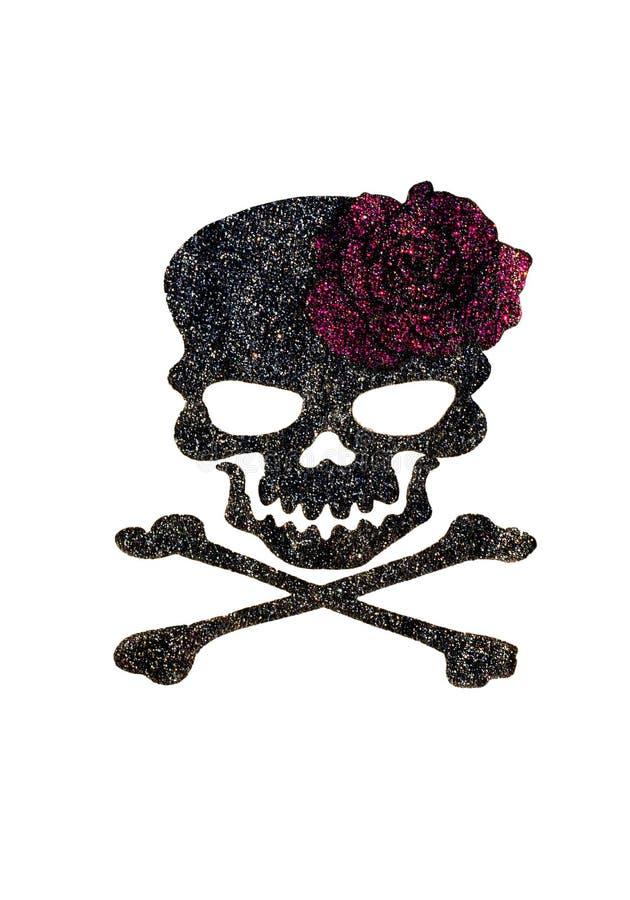 La colla e la polvere di diamante dipingono sono rosa e tibie incrociate su tessuto nero fotografia stock