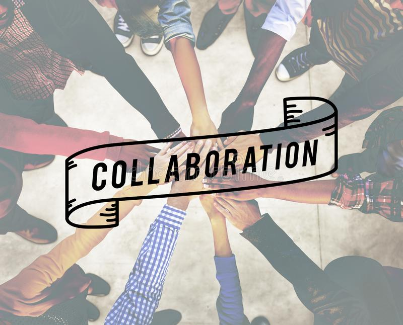 La collaboration collaborent concept d'entreprise de connexion images stock