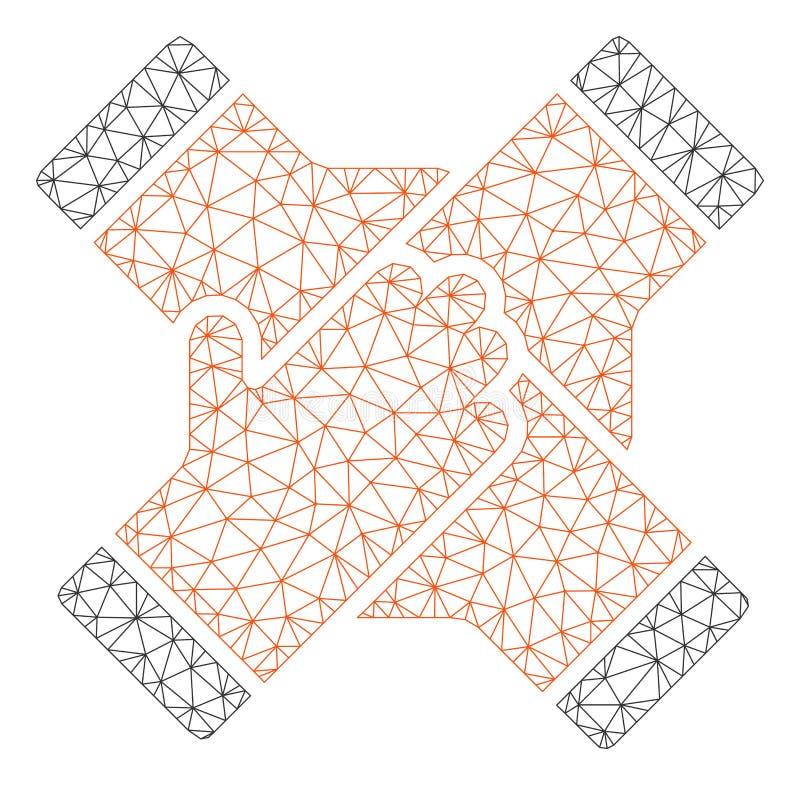 La collaborazione passa il vettore poligonale Mesh Illustration della struttura illustrazione di stock