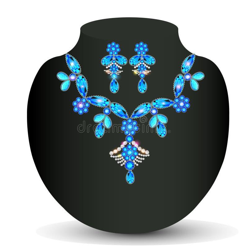 la collana della donna con le pietre preziose illustrazione vettoriale