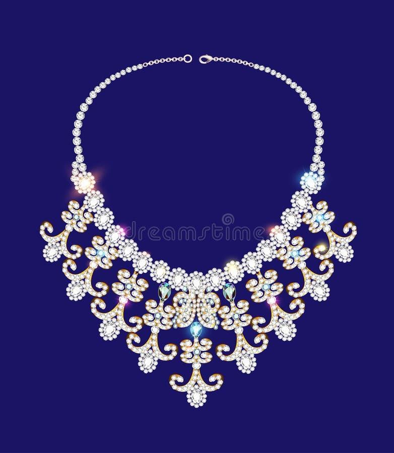 la collana della donna con le pietre preziose sul blu illustrazione di stock