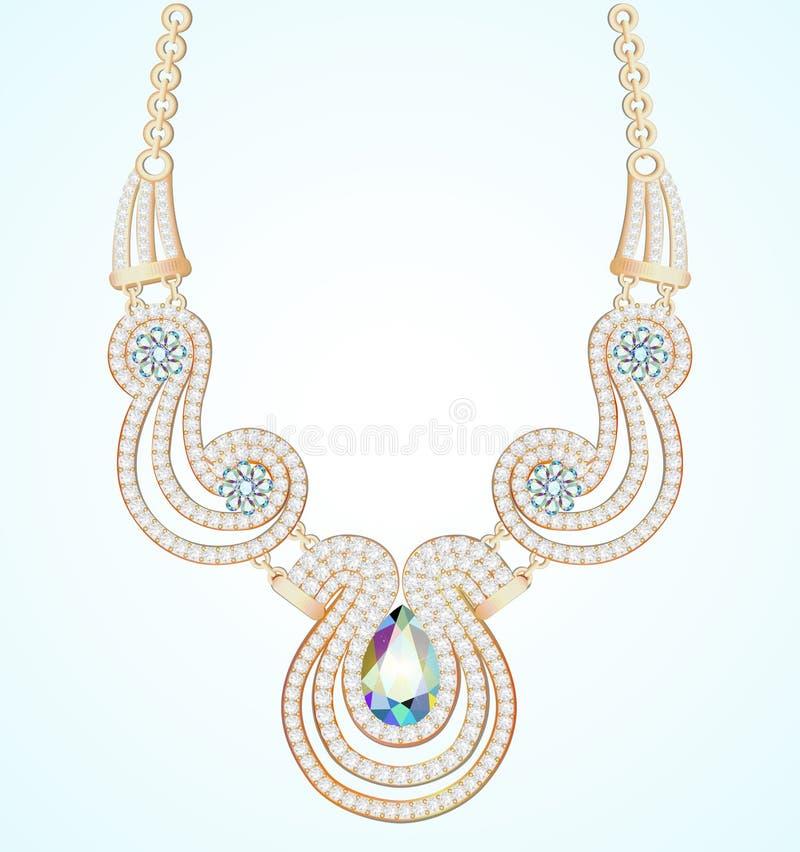 la collana della donna delle perle e delle pietre preziose illustrazione vettoriale