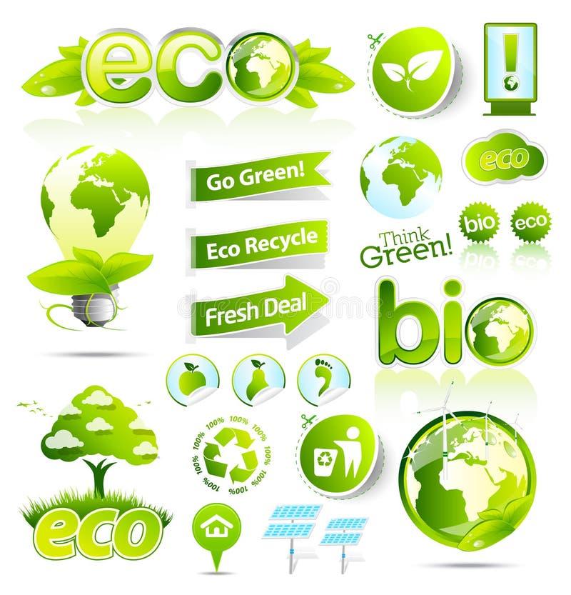 La collection énorme d'eco vert et le bio vecteur elemen illustration libre de droits