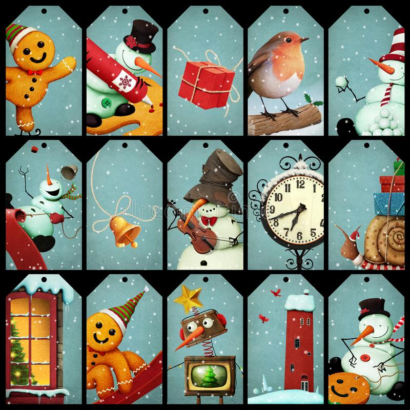 La collection étiquette Noël illustration de vecteur