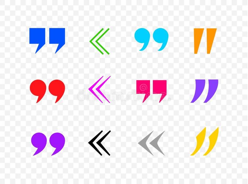 La collection colorée de marques de citation de vecteur, virgules, les icônes noires a isolé illustration stock