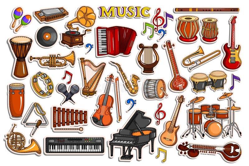 La collection d'autocollant pour la musique et le divertissement équipent l'objet illustration libre de droits