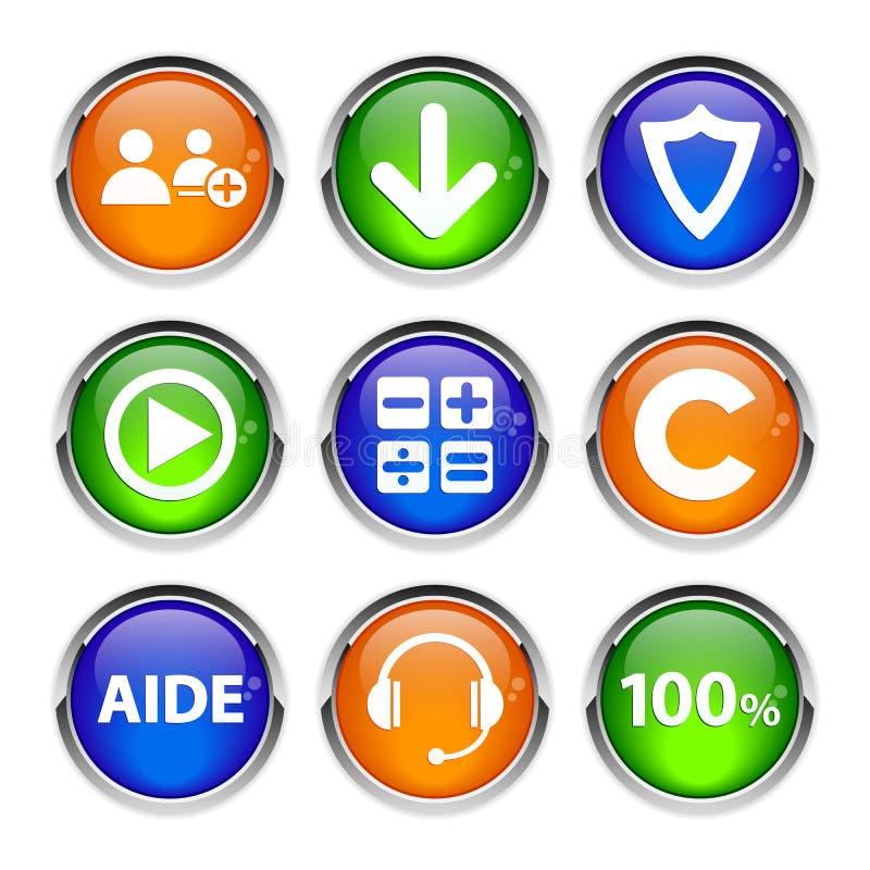 La collection 3d boutonne des affaires de Web d'icône illustration stock