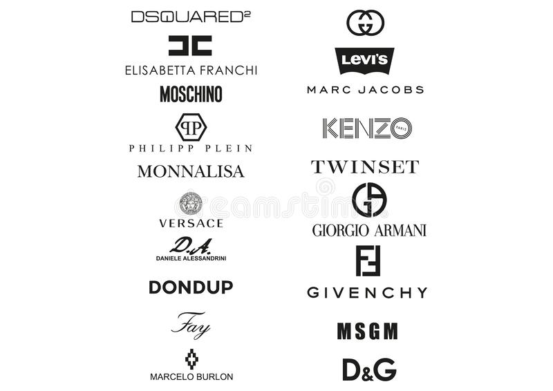La collection d'habillement italien loge des logos illustration de vecteur