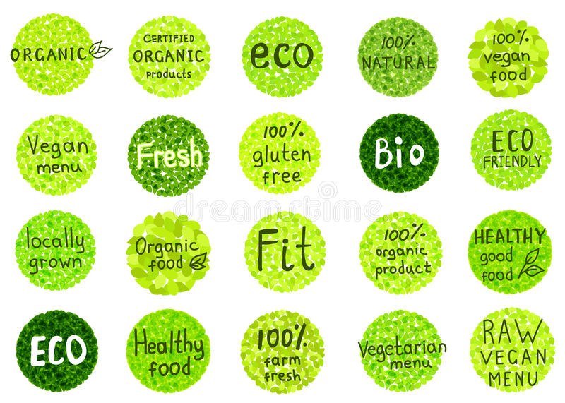 La collection d'organique, naturel, bio, ferme, nourriture saine badges illustration libre de droits