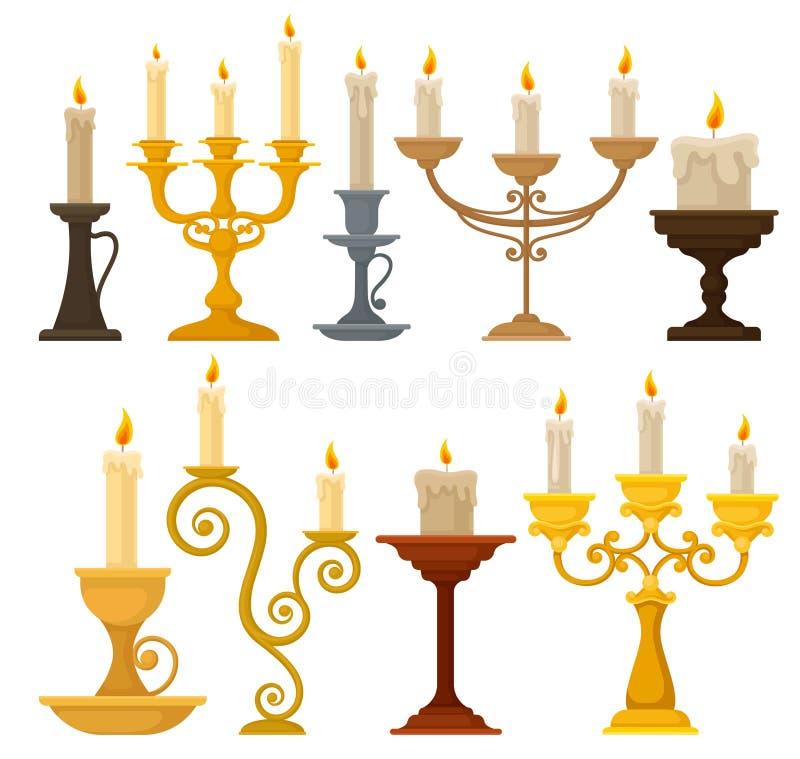 La collection de bougies dans des chandeliers, les bougeoirs de cru et les candelabrums dirigent l'illustration sur un fond blanc illustration de vecteur
