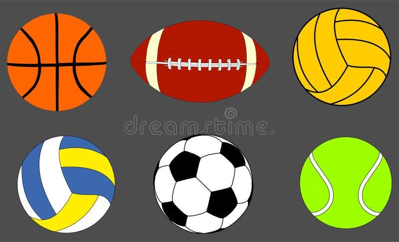 La collection de boules de sports dirigent l'illustration d'isolement sur le fond illustration de vecteur