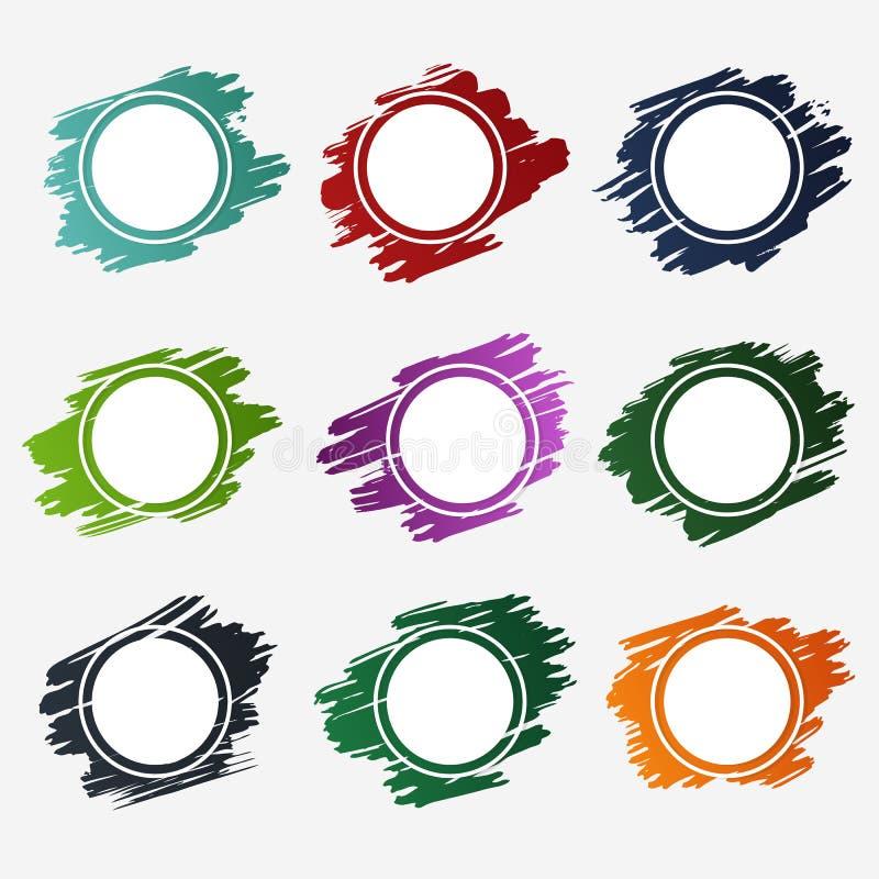 La collection de cadres de cercle conçoivent pour des labels, des autocollants de promo, des étiquettes et des bannières - dirige illustration stock
