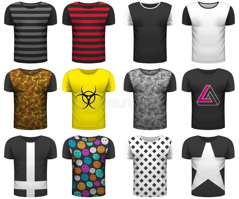 La collection de conception de T-shirts r?aliste raillent sur le fond blanc T-shirts de la jeunesse pour votre projet d'affaires  illustration libre de droits