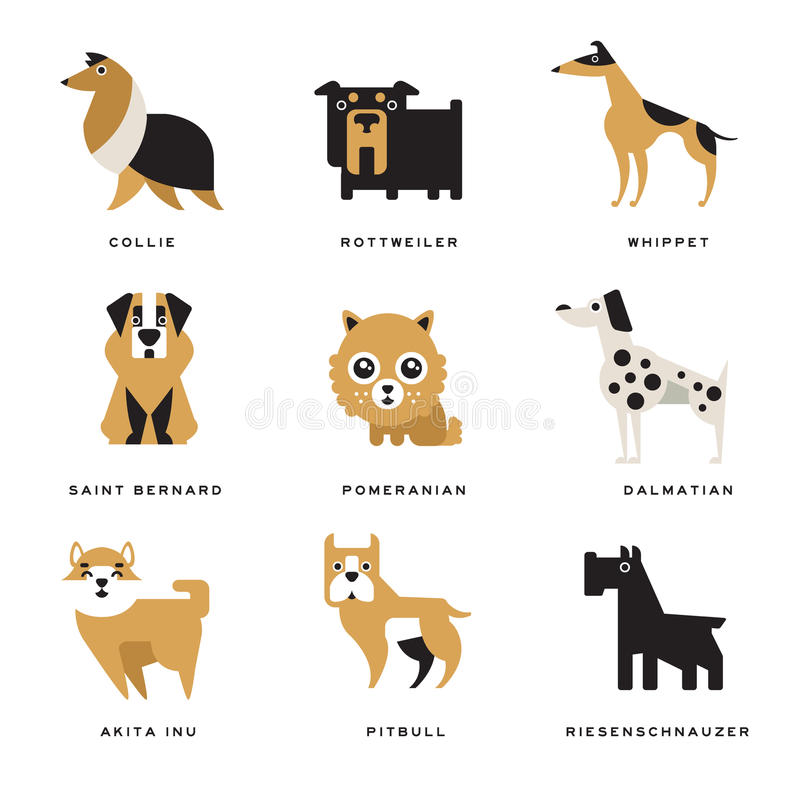 La collection de différents caractères de races de chiens et le lettrage multiplient dans les illustrations anglaises de vecteur illustration de vecteur