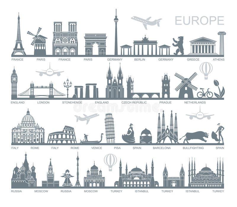 La collection de l'Europe a détaillé des silhouettes Points de repère réglés de voyage Illustration de vecteur illustration stock