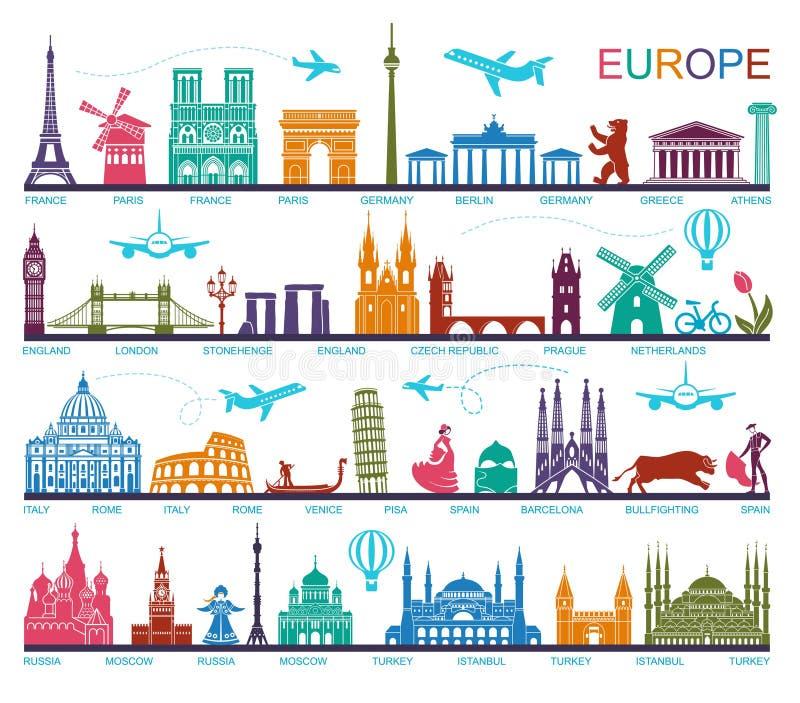 La collection de l'Europe a détaillé des silhouettes Points de repère réglés de voyage Illustration de vecteur illustration de vecteur